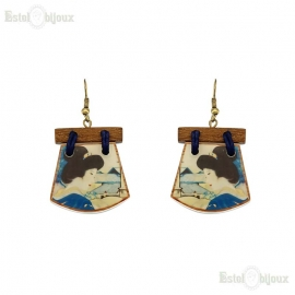 Decoupage Wood Earrings