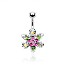 Fancy Flower Multi-Colored Navel Ring