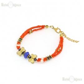 Two Butterflies Pearls Strass Bracelet