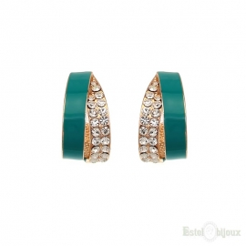Strass and Aquamarine Enamel Creole Earrings