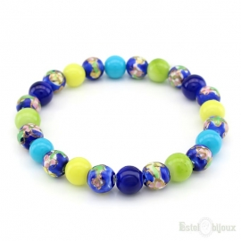 Glass Bead Multi Coloured Elastic Bracelet