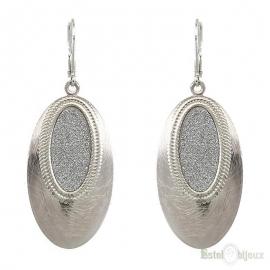 Oval Micro Pave Pendant Earrings