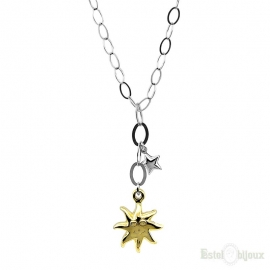 Sun and Star Silver Necklace