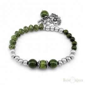Green Stones and Silver Balls Elastic Bracelet