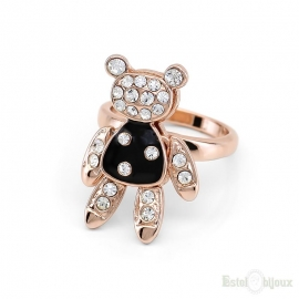 Teddy Bear Crystals Gold Plated Ring