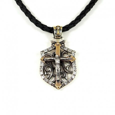 STERLING SILVER PENDANT & LEATHER NECKLACE
