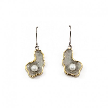 Earrings silver with pearls NATURE