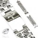 Cross CZ Plate & Double Chains Bracelet