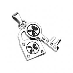 4 Leaf Lock and Key Pendant