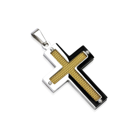 Gold IP Cross Pendant