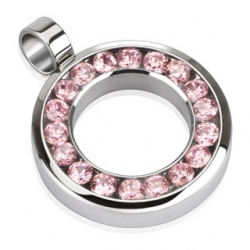 Rose pink round with CZ Pendant