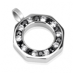 Black and Clear CZ round Pendant