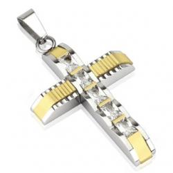 Duo Tone Gold CZ Pendant