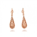 Gold Tone Drop Filigree Earrings