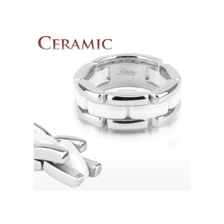 Anello Ceramica e Acciaio