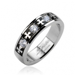 Celtic Cross with Triple Gem Ring