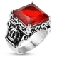 Red Square Gem Royal Crown Ring