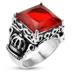 Red Square Gem Royal Crown Ring