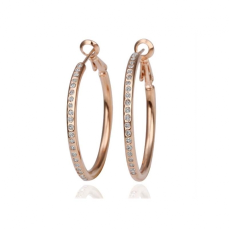 Gold Tone Crystals Hoops Earrings