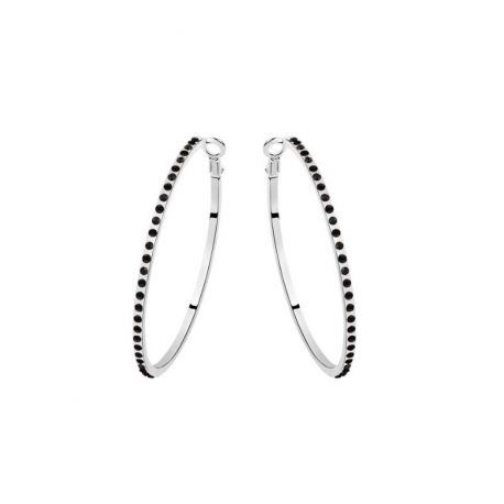 Black Crystals Hoops Earrings
