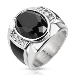 Diamond Cut Onyx Stone Ring