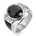 Diamond Cut Onyx Stone Ring