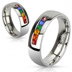 Rainbow Color Gems Band Ring