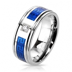 CZ Two Tone Blue IP Band Ring