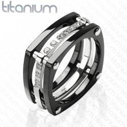 CZ Stones Ring Titanium