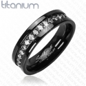 Black and CZ Ring Titanium