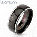 Hammered Center Black Ring Titanium