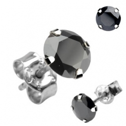 Stud Earring Black CZ 3 mm