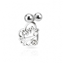 CZ Love Heart Tragus/Cartilage