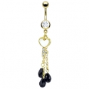 Pearl Inlay Heart Key with Black CZ Navel Ring