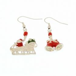 Orecchini Natalizi Campane e Carrozza di Babbo Natale