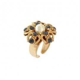 Anello con Perla e Zirconi Blu