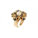 Ring with Pearl and cubic Zirconia Blue