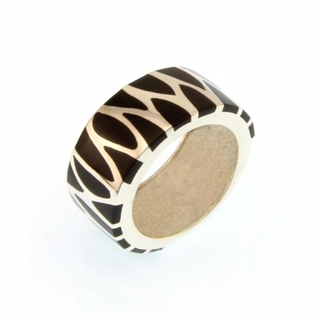 Zebra design Sterling Silver Ring