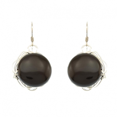 Black Agate Stone Earrings