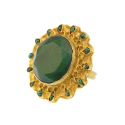 Ring Green Jade Stone
