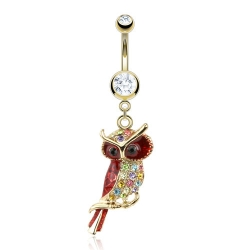 Velvet Owl Navel Ring