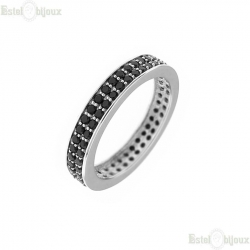 Ring Black CZ Sterling Silver 925