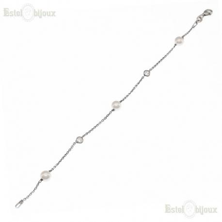 Pearls CZ Bracelet Sterling Silver 925