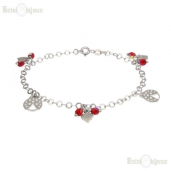Ladybug and Heart Bracelet