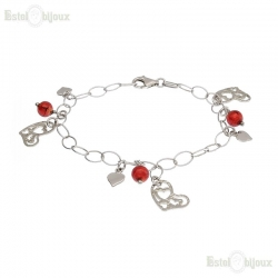 Hearts and Red Balls Bracelet