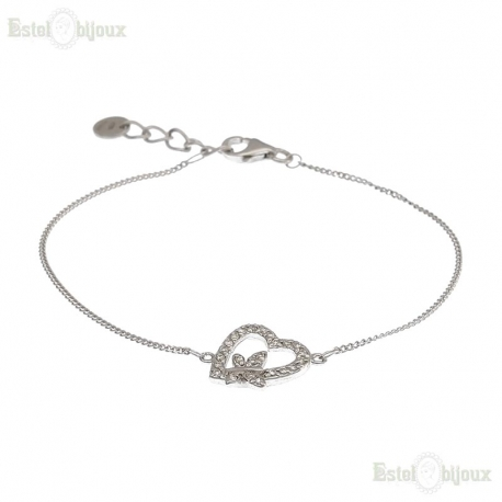 Heart with CZ and Butterfly Bracelet