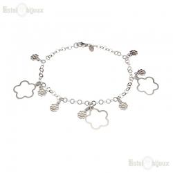Flowers Daisies Silver Bracelet