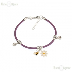 Bee Daisies Chamomile Flower and Four-Leaf Bracelet