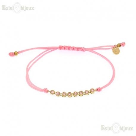Cord Pink CZ Bracelet