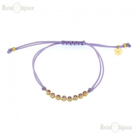 Cord Purple CZ Bracelet